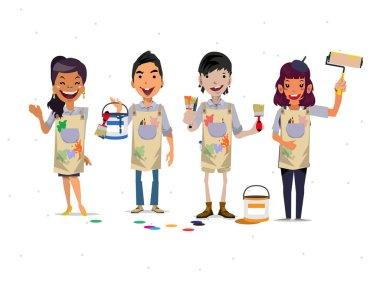 Painter team - vector