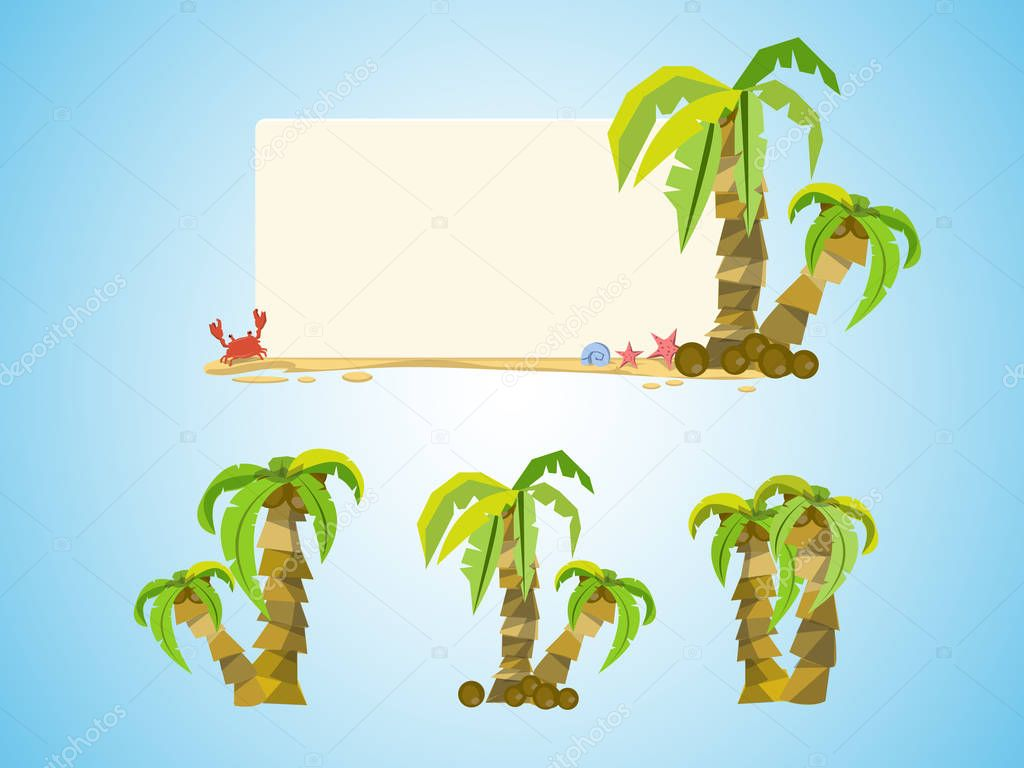 Vacation coconut background - set of coconut tree - vector