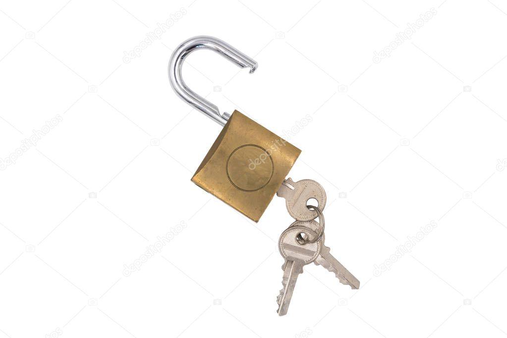 Padlock with key on white background