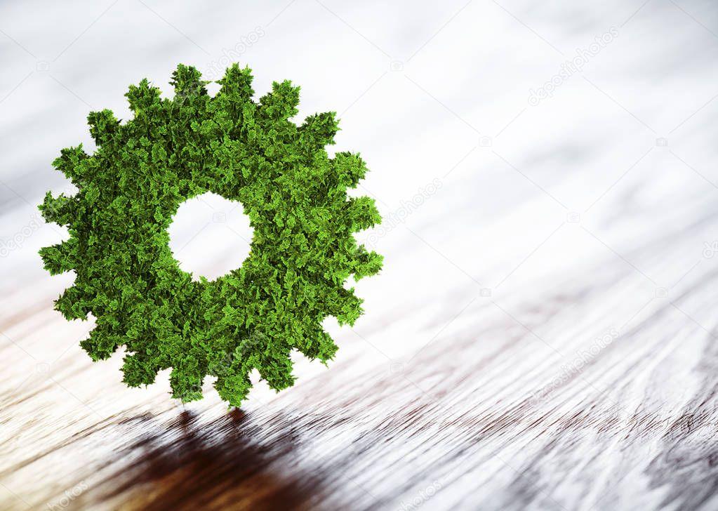 Ecology technology concept. 3D illustration on wooden background
