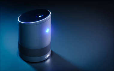 Home intelligent voice activated assistant. 3D rendering concept