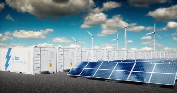 Koncepce systému skladování energie. Obnovitelné zdroje energie - fotovoltaické, větrné turbíny a Li-ion baterie kontejneru do svěží přírody s vzdálené město rozmazané pozadí. 3D vykreslování