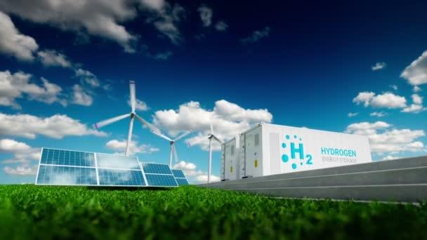 Ekologie energetických řešení. Moc plynu konceptu. Skladování energie vodíku s použitím obnovitelných zdrojů - fotovoltaické a větrné turbíny elektrárny v svěží přírody. 3D vykreslování