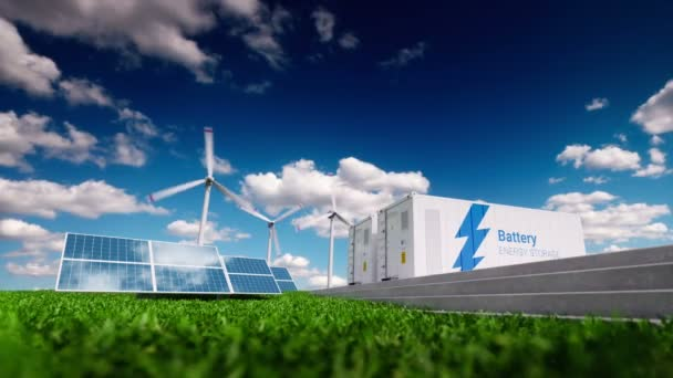 Concept of renewable energy storage system. Renewable energy - photovoltaics, wind turbines and battery container in fresh nature. 3d rendering.