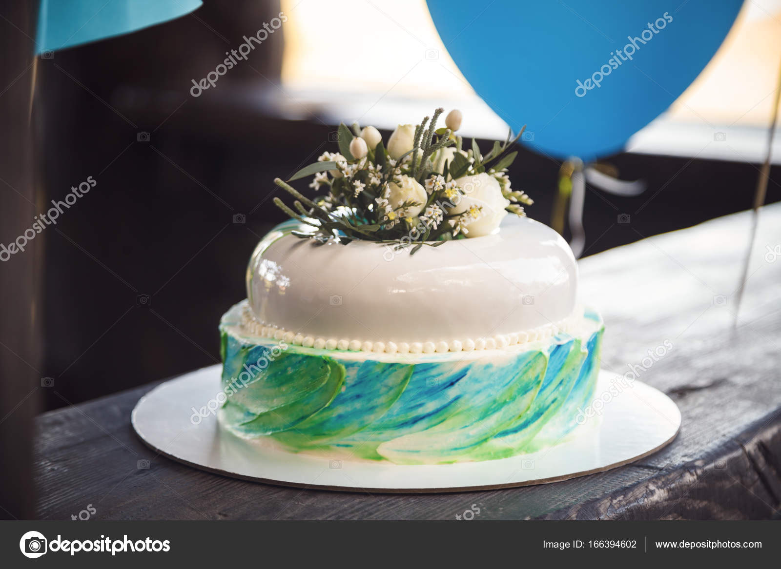 Birthday cake decorated by flowers on wood background stock photo birthday cake decorated by flowers on wood background stock photo izmirmasajfo