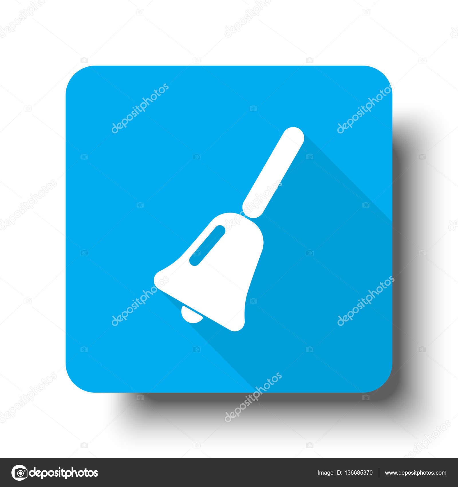 Icono de campana de la escuela de blanco en el botón azul de la ...