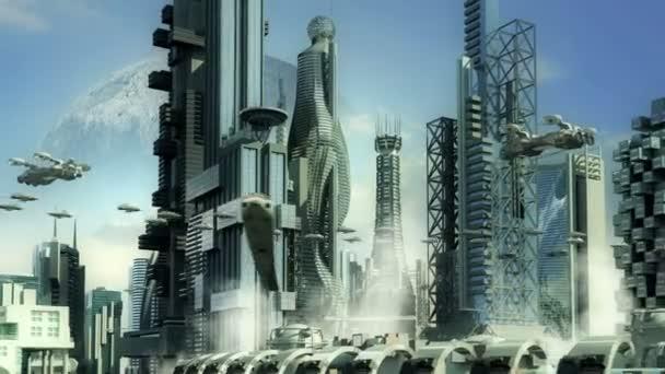 futuristisches Stadtbild mit metallischen Wolkenkratzern und staubsaugenden Flugzeugen für Science-Fiction oder fantasievolle animierte Hintergründe