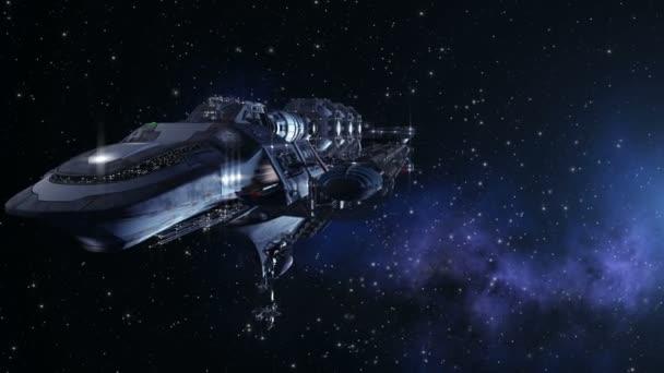 futuristické hluboké vesmírné cestování sekvence s detailní up na detailní kosmické lodi mimozemšťan nebo vojenské kosmické lodi pro fantasy hry nebo sci-fi pozadí mezihvězdné hluboké vesmírné cestování