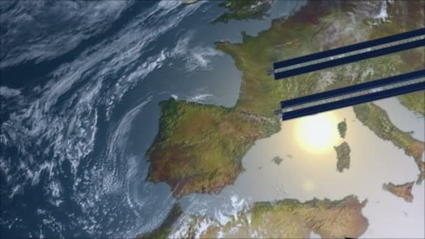satellite spacestation flying over europe with reflective solar panels and modular architecture