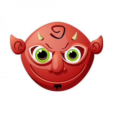 Cartoon red devil head with mean googly eyes, a small beard, pointy ears and little pointy horns. Isolated on white. Can represent religion, Hell or Halloween.