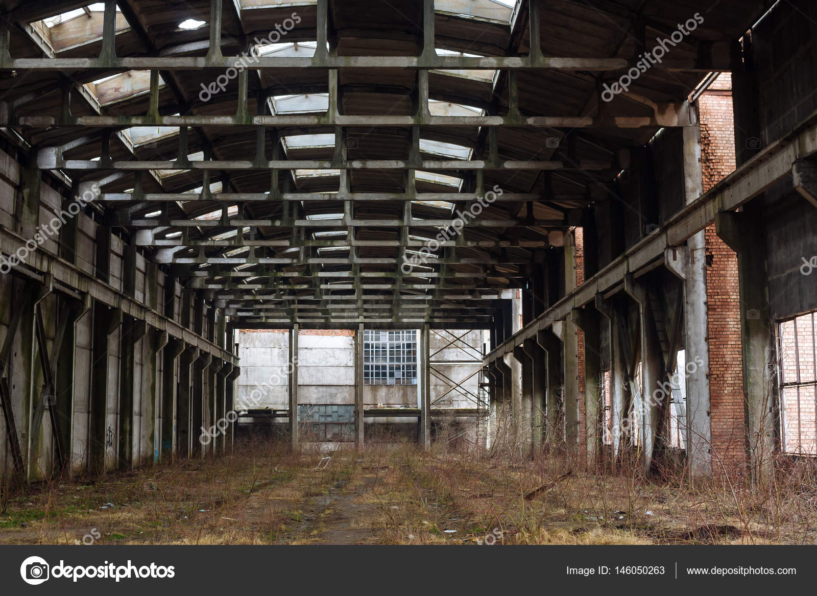Abandoned Industrial Interior Stock Photo