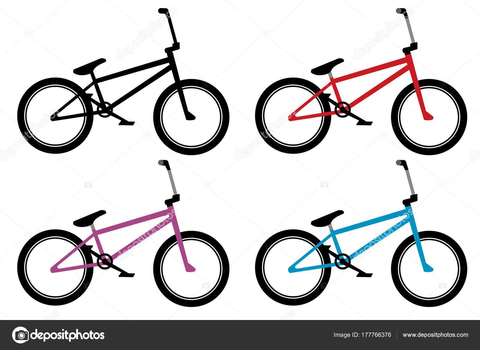 Bmx Bike Set Black Red Blue Violet Color — Stock Vector ...