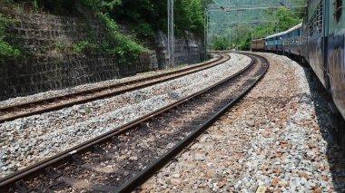 Railway track, A train taking turn the track