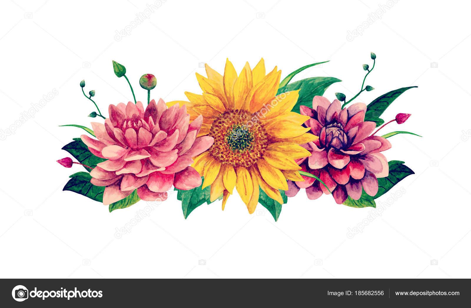 Watercolor flowers vector. Floral bouquet clip art — Stock Vector ...