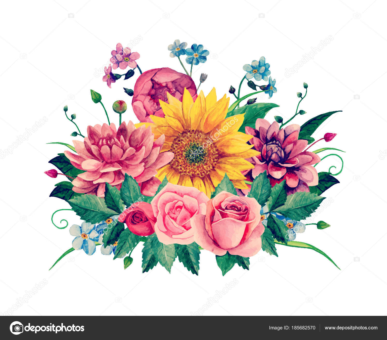 Watercolor Floral Bouquet Clipart Handpainted Flowers Clip Art Stock Vector
