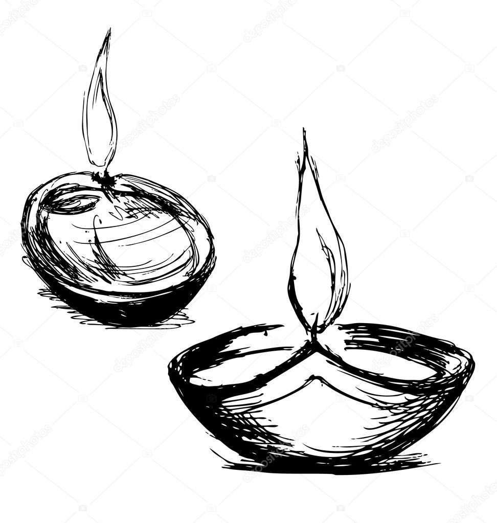 Hand sketch Diwali lamp — Stock Vector © onot #126542190 for Deepavali Lamp Black And White  67qdu