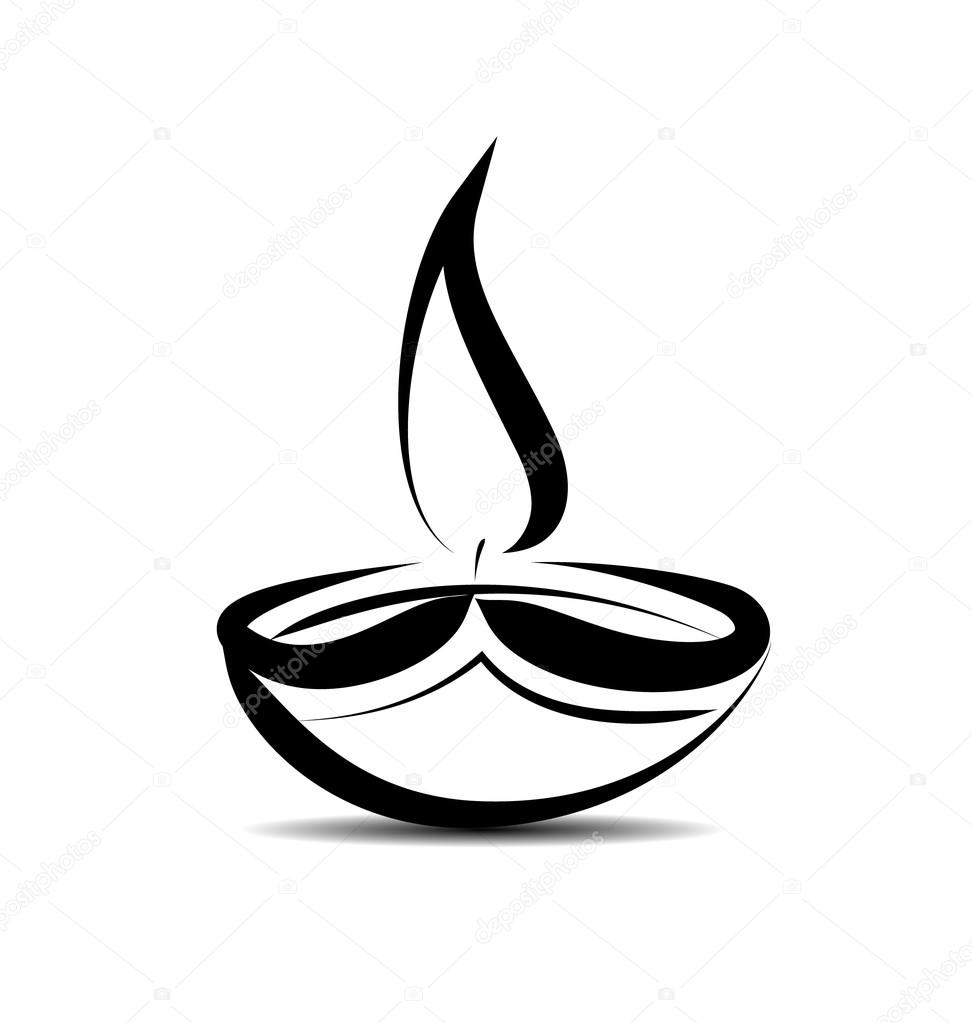 Vector Line sketch Diwali lamp — Stock Vector © onot #128417138 for Deepavali Lamp Black And White  34eri