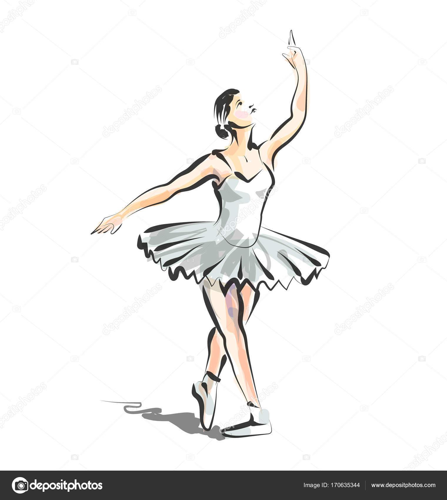 Dibujos Dibujo De Bailarina A Color Dibujo De Línea Color Vector