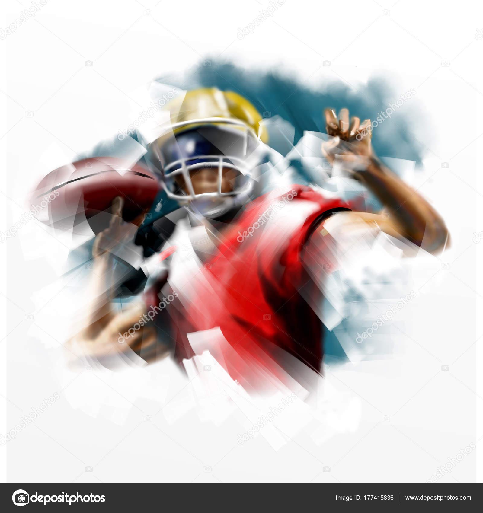 6b7b8d4d9c Pintura digital del jugador del fútbol americano — Foto de stock ...