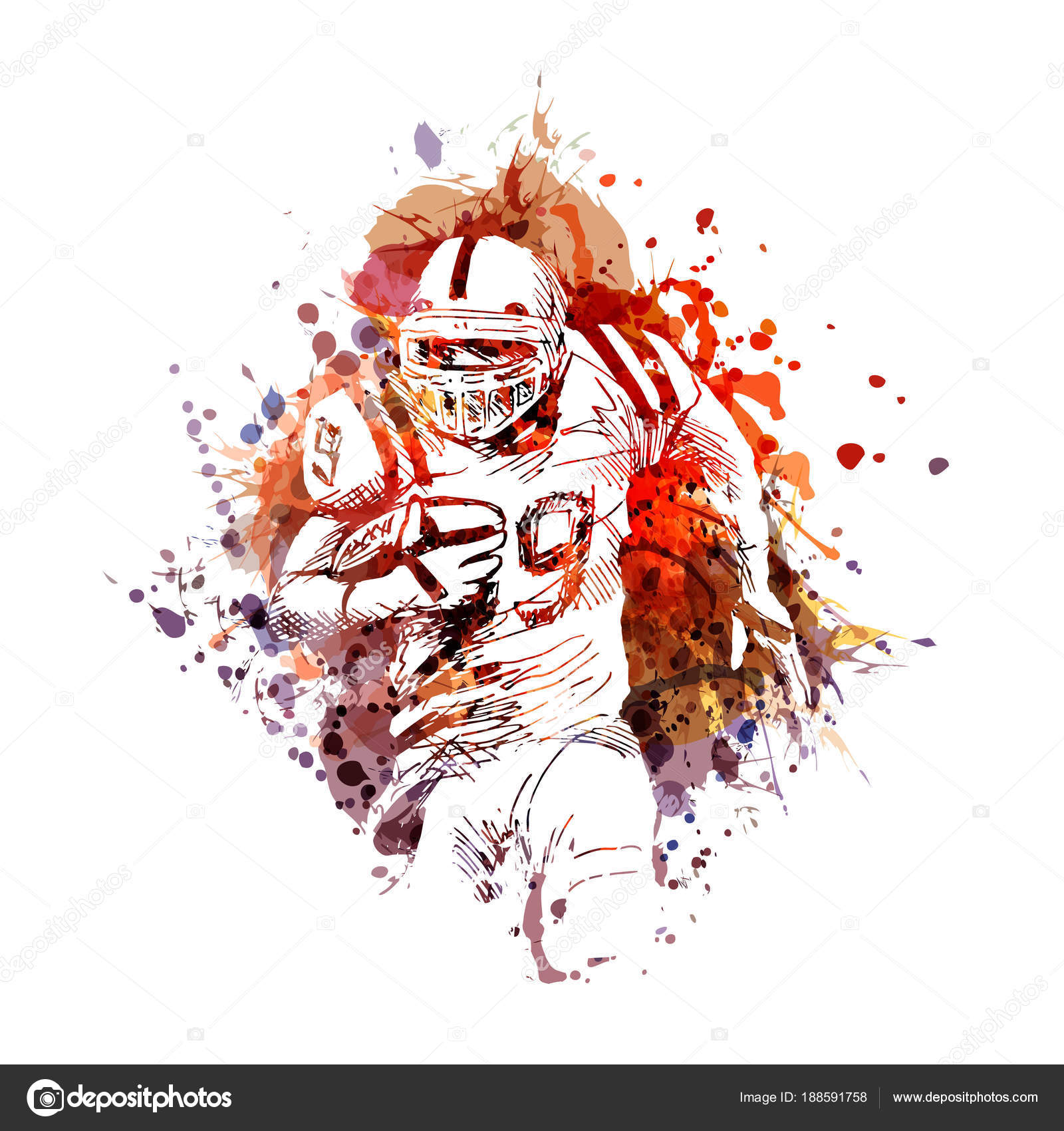 Farbigen illustration des american football spieler vektor illustration vektor von