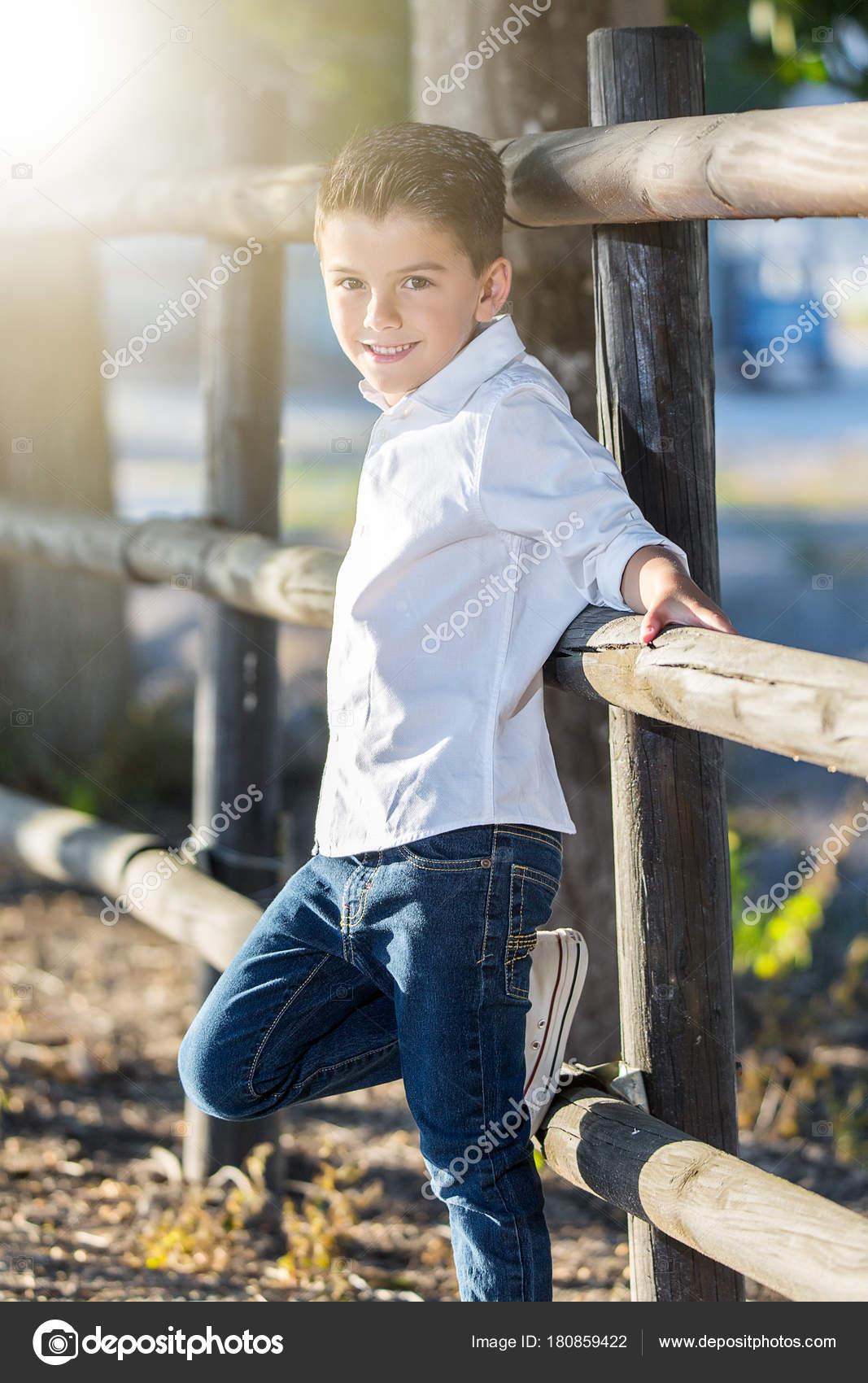 Dandy Kid Posing Confidently Stock Photo