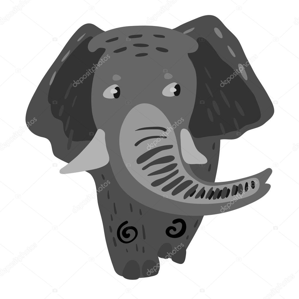 Vector design with a a cute and friendly elephant