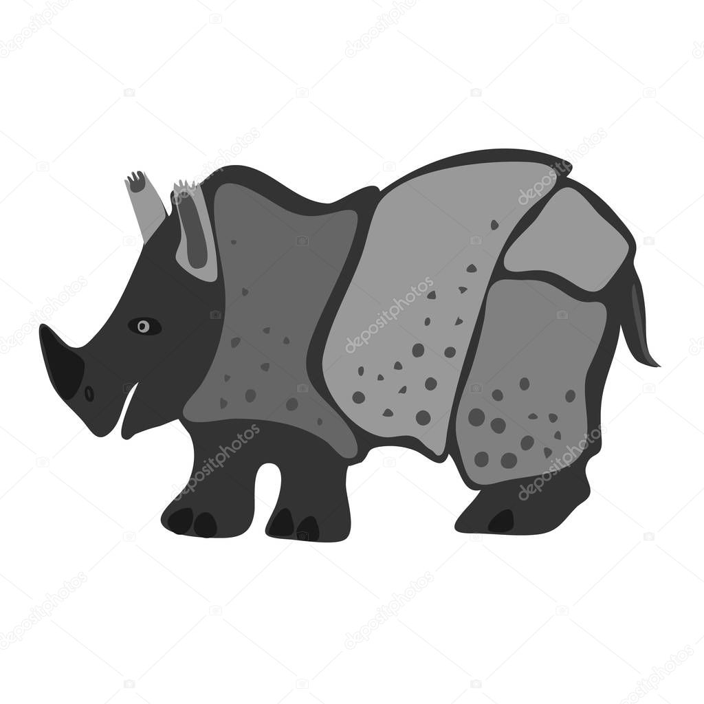 Vector design with a a cute and friendly rhinoceros