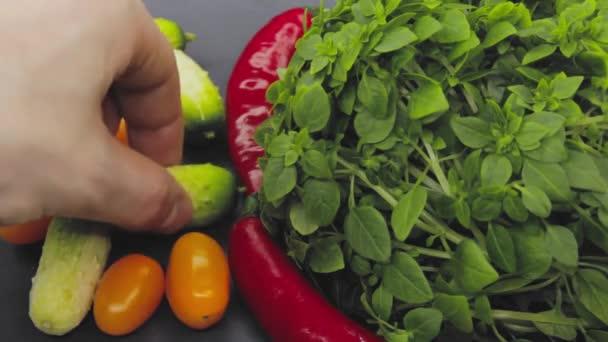 Ruka v ruce si vybere mezi nezdravým jídlem a zdravým jídlem a rozhodne se vzít si obojí