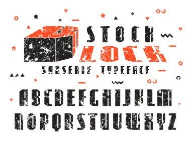 Stock vector set of sanserif font