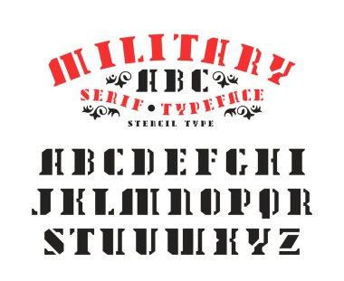 Stock vector set of serif stencil-plate font