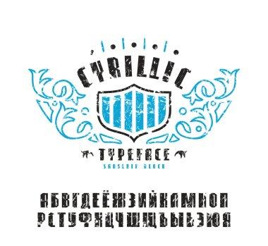 Stock vector set of sanserif Cyrillic font