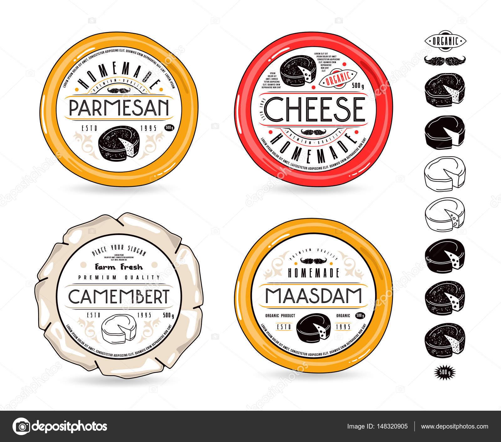 Conjunto de etiquetas de plantilla elementos de queso y diseño ...
