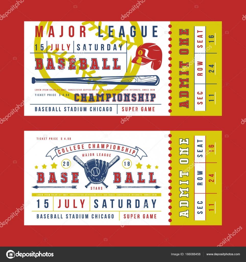 template for vintage baseball ticket stock vector neuevector