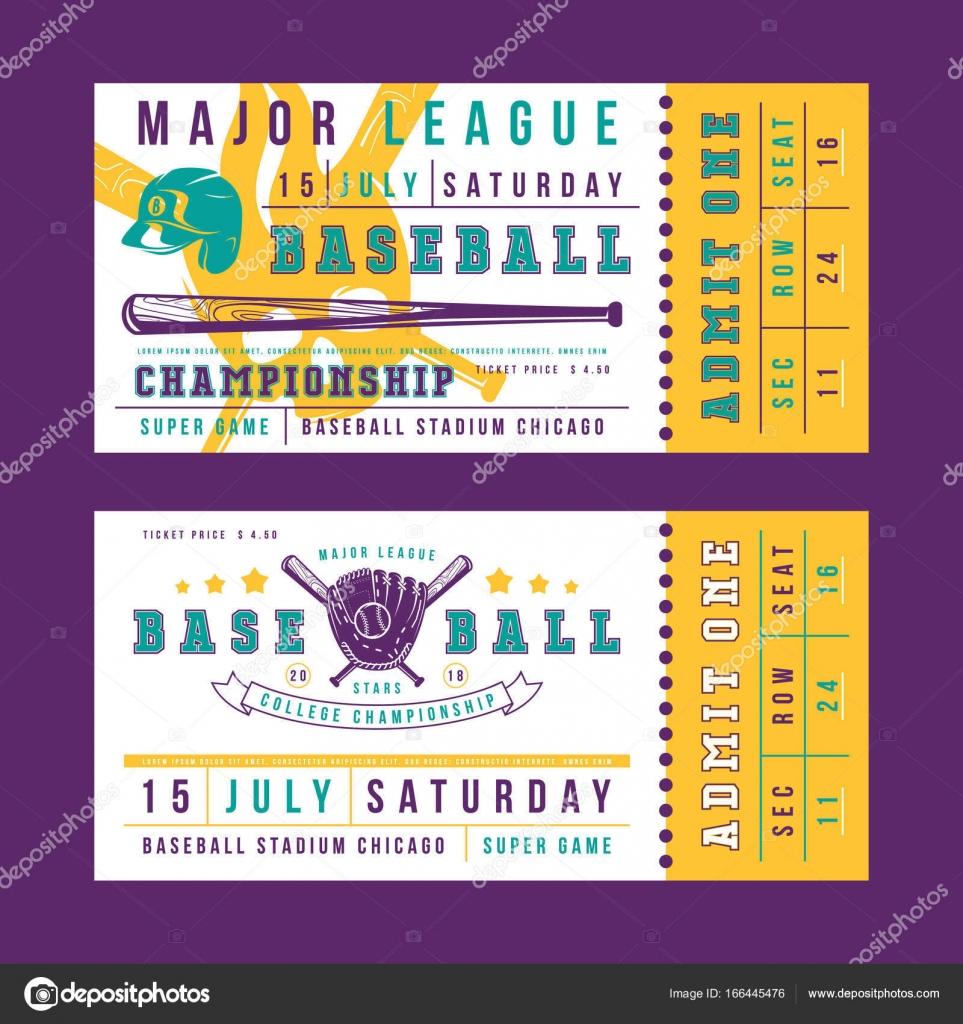 Vorlage für Vintage Baseball Tickets — Stockvektor © Neuevector ...