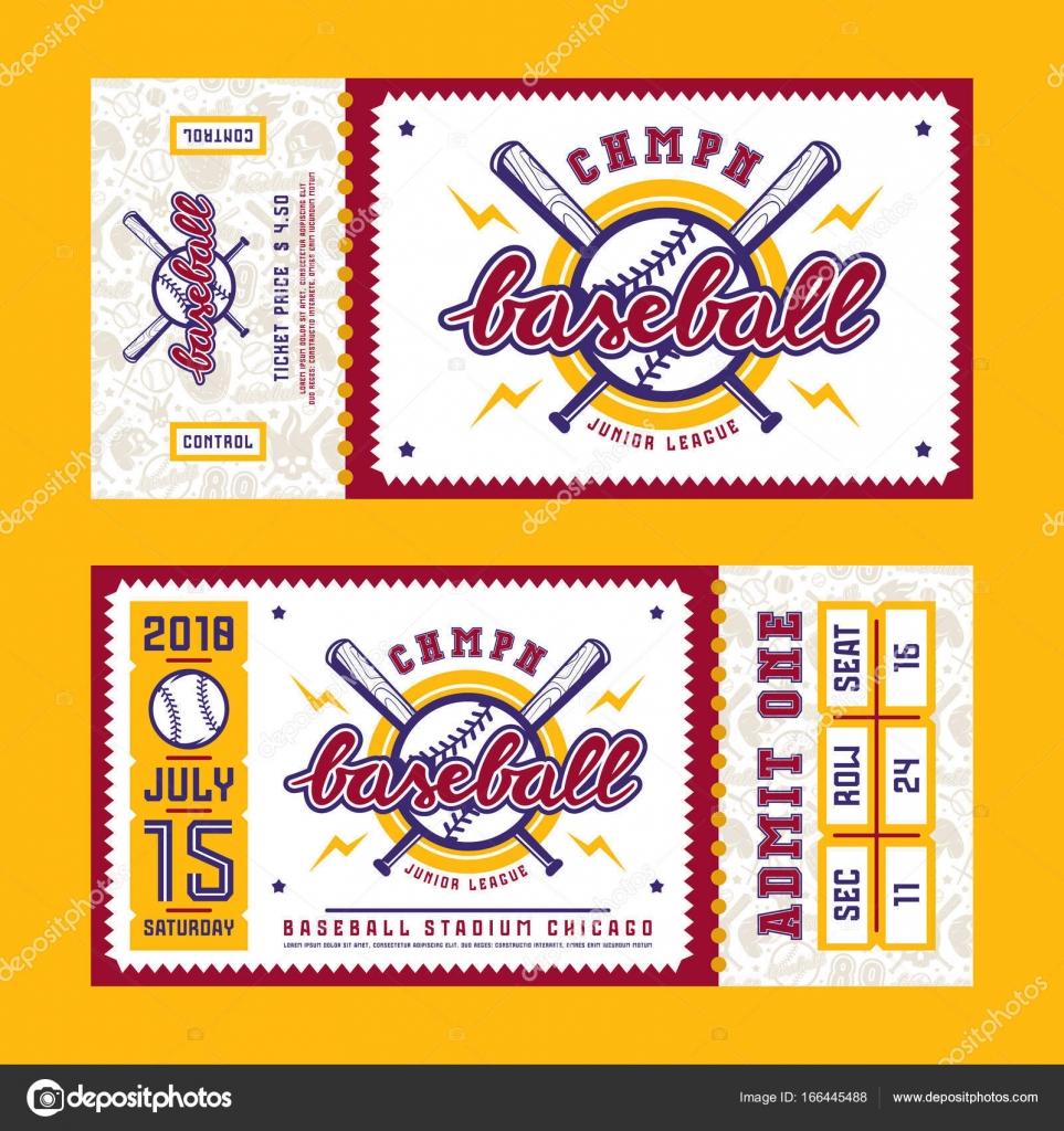 Template for baseball ticket — Stock Vector © Neuevector #166445488