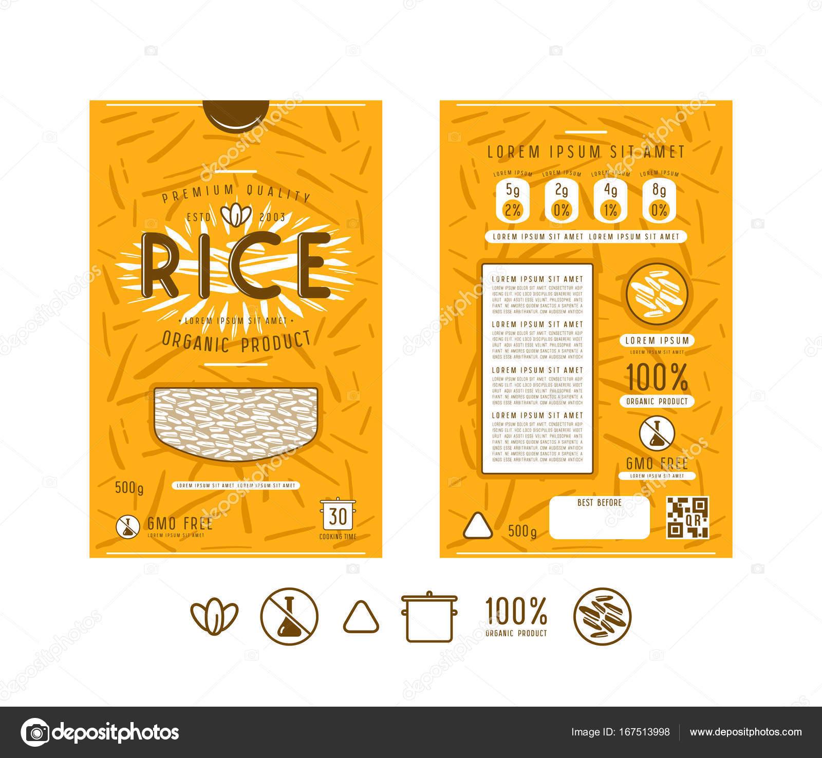 Etiqueta de plantilla y los iconos para el envasado de arroz ...
