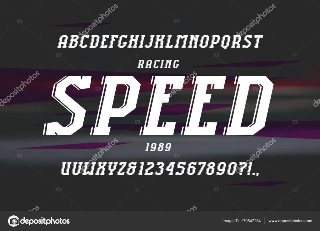 817490301 Fonte com serifa itálico decorativos no estilo esporte. Letras e números  para o design do logotipo e título. Imprimir no fundo desfocado — Vetor por  ...