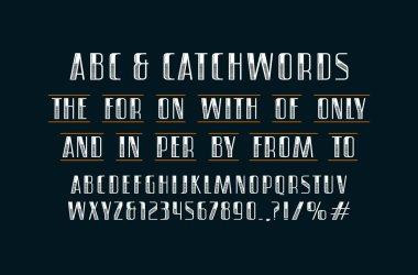 Ornate sans serif font and catchwords