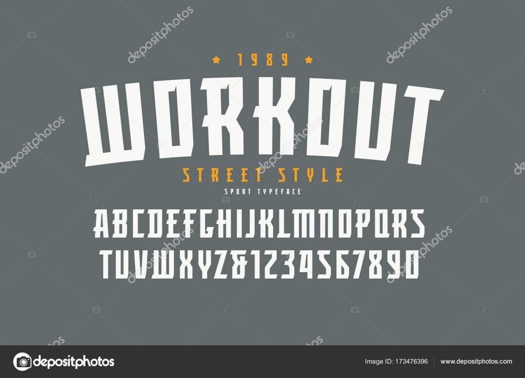 8fd3d3808 Fonte com serifa no estilo esporte. Letras e números para o design do  logotipo e título. Imprimir em fundo cinza — Vetor de ...