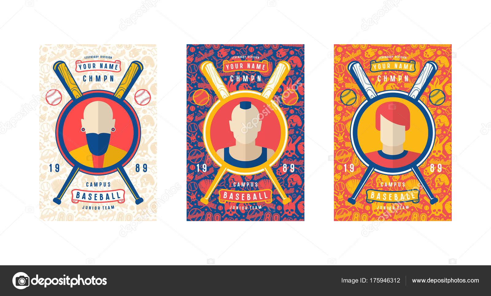 Set Of Baseball Card Design Stock Vector Neuevector