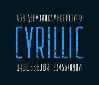 Narrow sans serif font. Cyrillic alphabet
