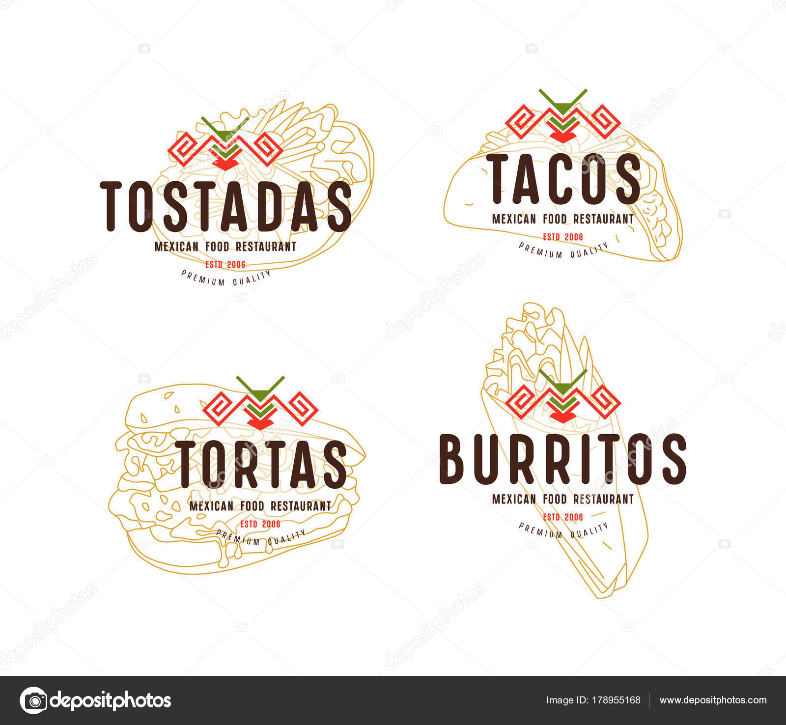 Conjunto de diseño de etiqueta y logotipo para restaurante de comida ...