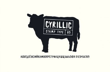 Cyrillic sans serif font in handwritten style and cow silhouette