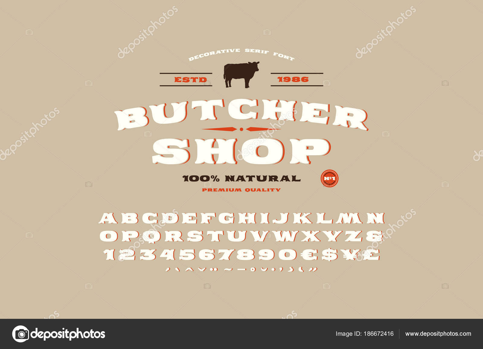 Etiqueta de serif decorativa fuente y carnicero tienda — Vector de ...