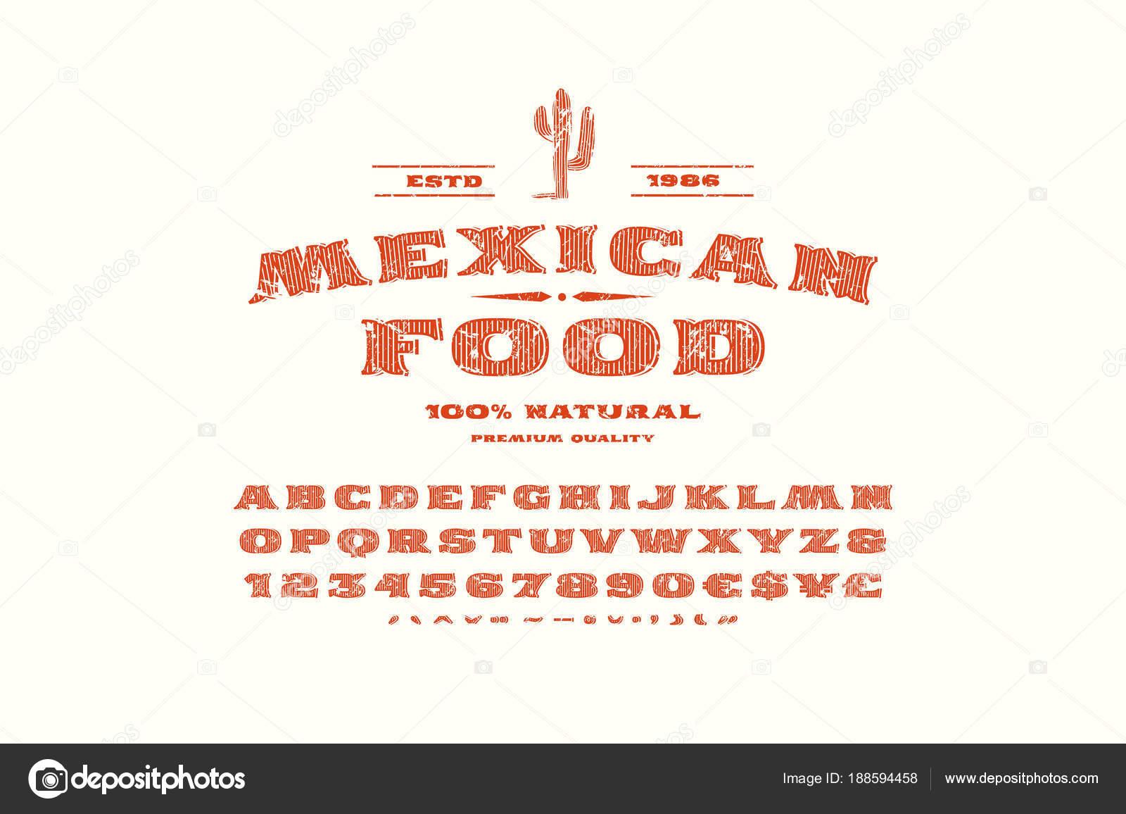 Serif decorativa fuente y etiqueta de la plantilla para restaurante ...