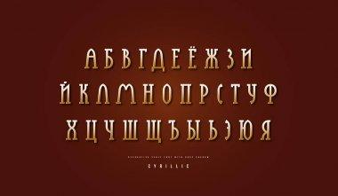 Golden colored cyrillic narrow slab serif font