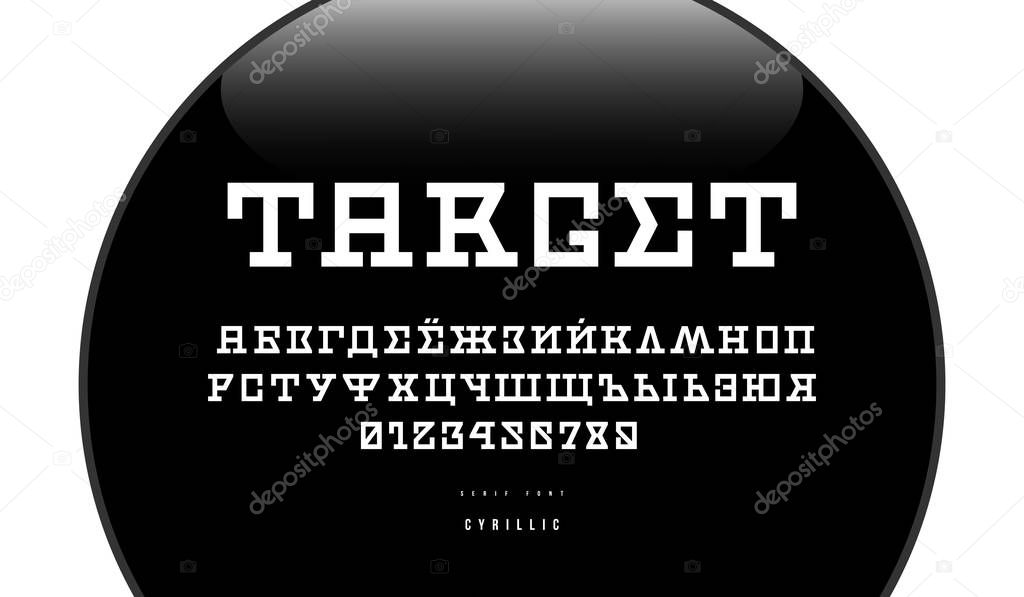 Cyrillic Serif Font In Sci Fi Style Letters And Numbers For Logo And Emblem Design Gunpoint Background Premium Vector In Adobe Illustrator Ai Ai Format Encapsulated Postscript Eps Eps Format