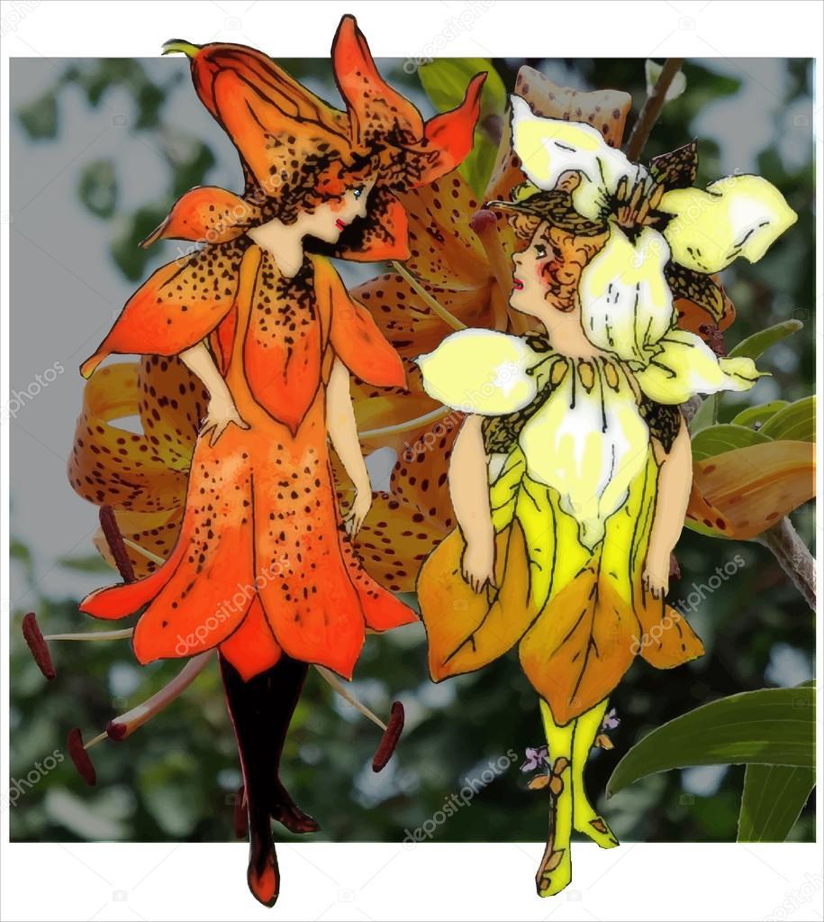 Trillium And Tiger Lily Flower Children Stock Photo Jrtburr