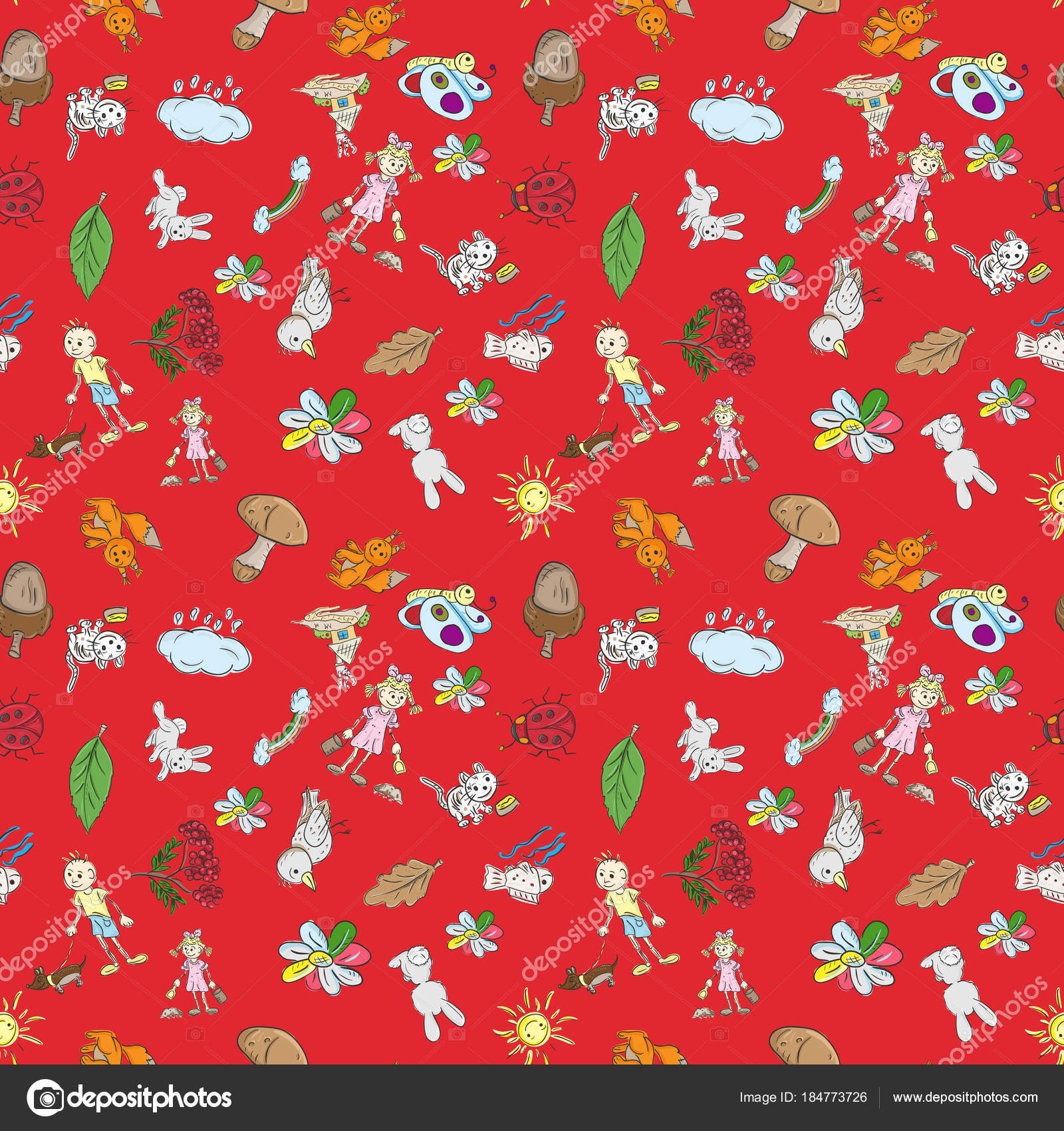 Childrens Color Seamless Pattern In Sketch Style Red Background Stock Vector C Svarog19801 184773726