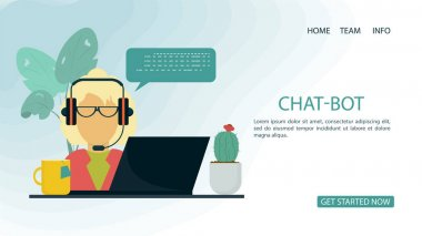 banner, man woman blonde, wearing glasses with headphones, chatting on a laptop , for a website or mobile apps, artificial intelligence concept, flat vector illustration of a cartoon